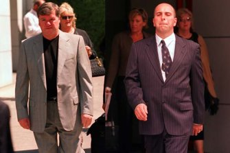 Lewis Moran and his son Jason leaving the Coroners Court on separate occasions in 2002. Both would later be murdered on the orders of  Carl Williams.