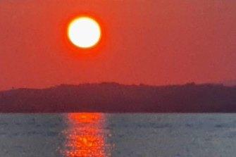A blood-red sky filmed over Waiheke Island.