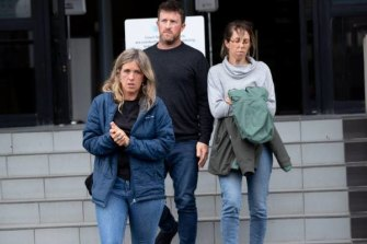 Sean McKinnon's siblings Emmeline, Lachlan and Mary McKinnon leave the Hamilton District Court in 2019.
