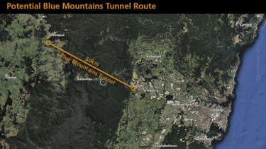 A proposed route for the Blue Mountains tunnel.