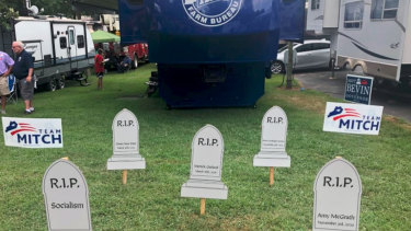 Image of gravestones tweeted by Mitch McConnell campaign, who has been nicknamed the Grim Reaper.