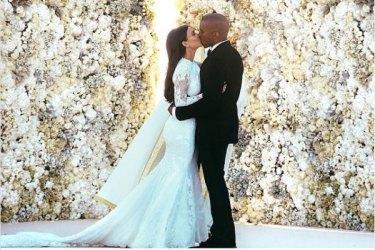Kim Kardashian and Kanye West wedding. Photo: Instagram