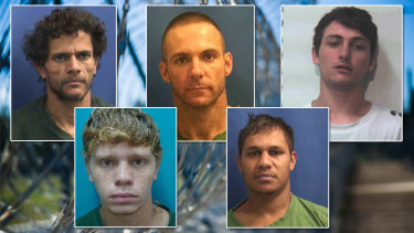 The five remaining Geraldton prison escapees, clockwise from top left: Alan McDonald, 28, Bradley Silvester, 35, Brendan Bartley, 22, Devon Comeagain, 23, Darryl Councillor, 18.Devon Comeagain was re-captured on Wednesday morning.