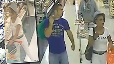 Police want to speak to two people (pictured) after an elderly woman had her purse stolen while shopping at a Fremantle supermarket last week (inset).