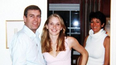Prince Andrew pictured with Virginia Roberts in 2001 at the Belgravia townhouse of Ghislaine Maxwell (right).