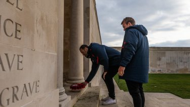 Respect: Jake Friend and Boyd Cordner at the memorial in Villers-Bretonneux.