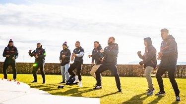Moving: The club's New Zealand players perform an emotional haka.