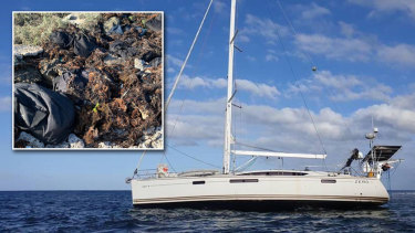 The stricken yacht which ran aground off the coast of WA in the Abrolhos Islands, and the bags of drugs police found(inset). Picture: WA Police
