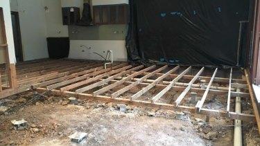 The Keresztesis' kitchen during the repairs.