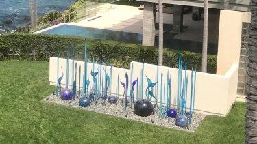 The sculpture in Bill Gross' garden.