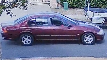The maroon Falcon police believe was used by Shane Bowden's killers to escape.