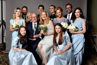 Jerry Hall, Rupert Murdoch and family.