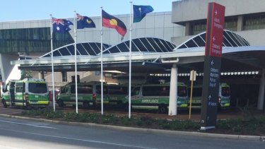 Ambulance ramping at Sir Charles Gairdner Hospital on Monday. At one point there were eight parked outside ED.