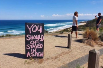 Feelings running high: a sign recently posted on the Mornington Peninsula.