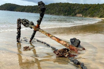 A historic anchor that washed up on the beach at Stewart Island, NZ.