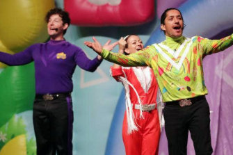 """Former """"brown Wiggle"""", actor Robert Rakete, right, performs with The Wiggles at the Christchurch Arena."""