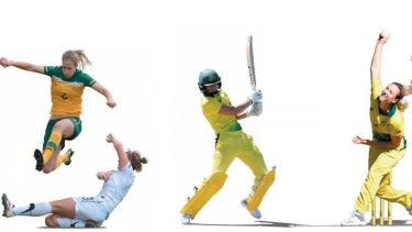 Ellyse Perry in action for the Matildas; batting and bowling for Australia.