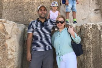 Amir Helmy Gerges Tawdrows with his wife Ekaterina Beliaeva and two children Ilia Taudros and Aleksandra Taudros in Egypt.