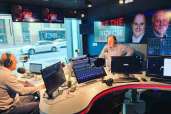 Hutchison with AFL legend turned commentator Malcolm Blight at Adelaide radio station 1116 SEN.