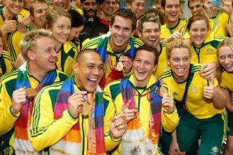 The men's medley relay team (from left), Brenton Rickard, Geoff Huegill, Eamon Sullivan and Ashley Delaney.