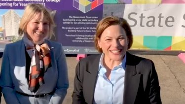 Former deputy premier Jackie Trad with Inner City South State Secondary College executive principal Kirsten Ferdinands.