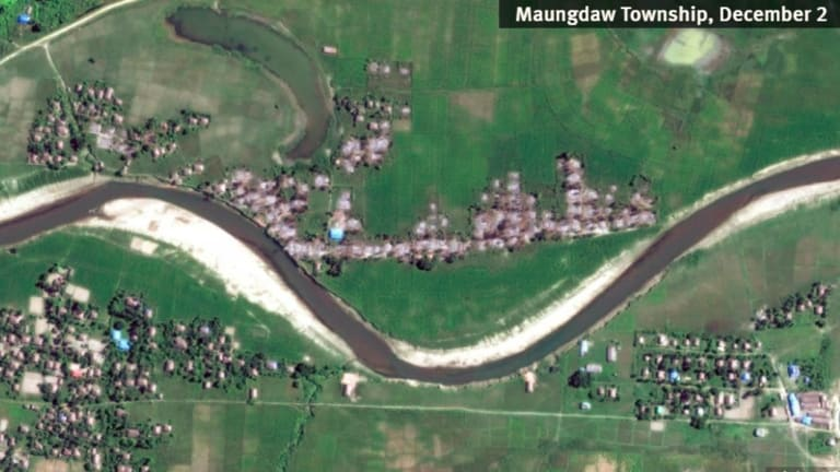 Satellite imagery shows the destruction of villages in Rakhine state in 2017.