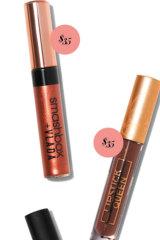 Smashbox + Vlada Liquid Lips in Rose Magic, $35. Lipstick Queen Reign & Shine Lip Gloss in Countess of Cocoa, $35.