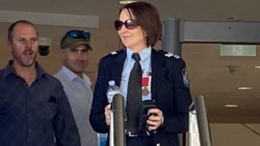 Senior Constable Catherine Nielsen leaves Toowoomba Magistrates Court on Monday afternoon.