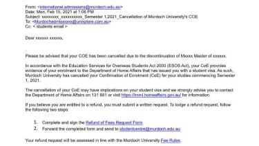 Murdoch University's email to a student informing them their degree had been cancelled.