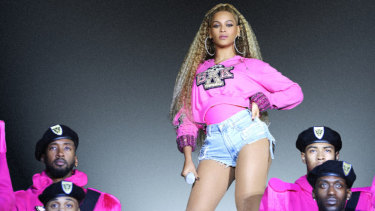 Beyonce, in scenes from her concert film Homecoming.