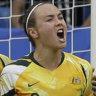 Good times: Caitlin Foord (centre) scoring against Brazil.