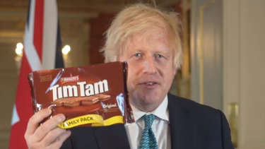 Prime Minister Boris Johnson hails Tim Tams in Australia-UK trade talks.