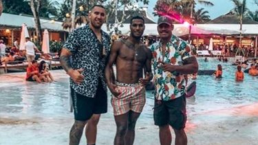Nelson Asofa-Solomona with teammates Suliasi Vunivalu (centre) and Tui Kamikamica in Bali.