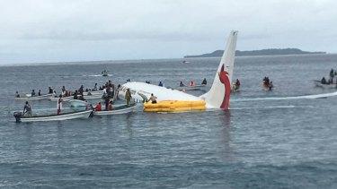 The Air Niugini flight landed in the ocean.