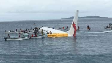 The Air Niugini flight landed in the ocean.