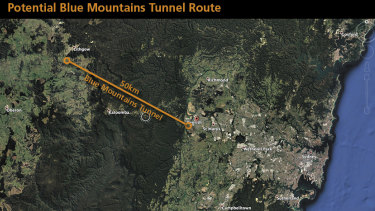 A proposed route for the Blue Mountains tunnel