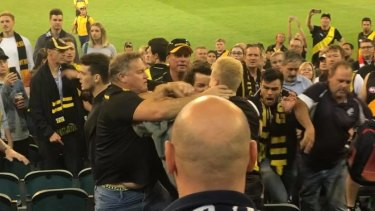 Footage shows a group of men involved in the brawl, while the Tigers club song plays in the background.