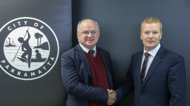 City of Parramatta mayor Andrew Wilson with CEO Mark Stapleton.