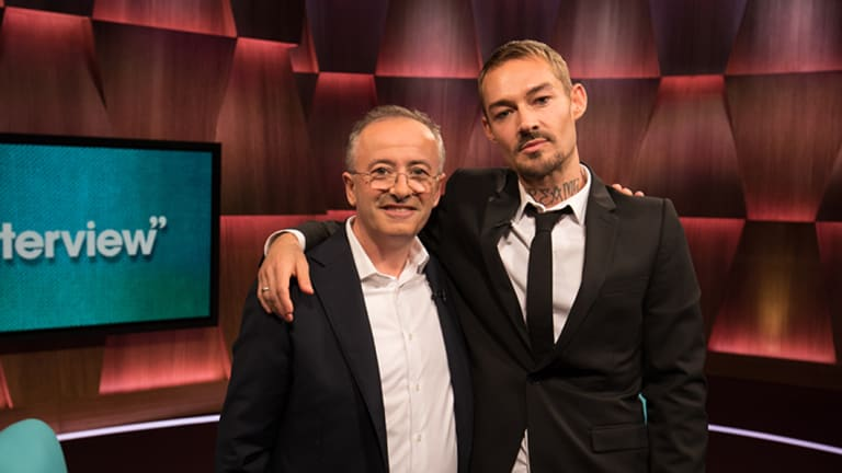 Andrew Denton, left, and Daniel Johns on the Interview set.