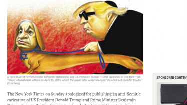 A The Times of Israel report on The New York Times' apology for the cartoon.