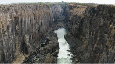 The bare cliffs of Victoria Falls.