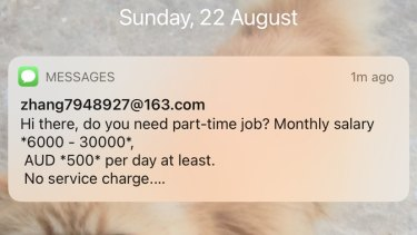 A spam text message received on an iPhone on August 22.
