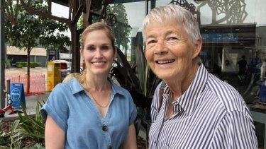 The LNP's candidate for Griffith, Olivia Roberts (left), with Pam Evans from Coorparoo.