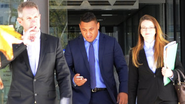 Low point: Papalii leaves the ACT Magistrates Court back in April 2017 after pleading guilty to drink-driving.