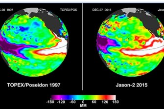 Two big El Ninos, forming in 1997 and 2015 in the Pacific. The climate patterns swing between periods of lower activity to more active ones, with global consequences.
