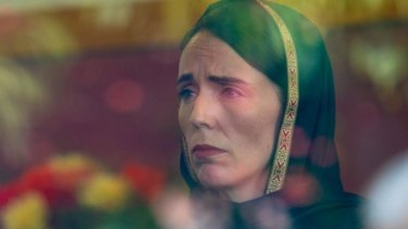 Prime Minister Jacinda Ardern listens to the Muslim community in Christchurch on Saturday following Friday's mosque massacres.