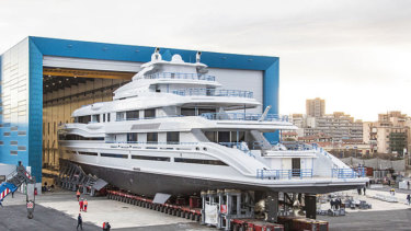 "James Packer's new $200 million weekend runabout is one of three identical ""gigayachts"" currently under construction in Italy."