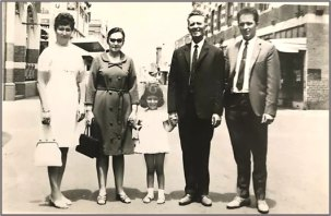 Author Olympia Koziaris c1968 as a child, centre, in Yarraville's Ballarat Street, with her parents and grandparents.