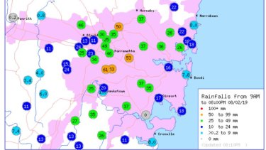 Rainfall recorded on Friday from 9am to 8pm.