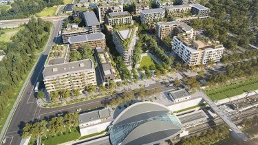 An artist's impression of the apartment buildings planned for the Tallawong Station precinct at Rouse Hill